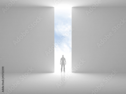 Abstract empty interior with opening and a man