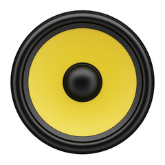 yellow loudspeaker isolated on white background