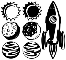 black and white rocket and planets