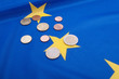 Euro Coins on EU Flag
