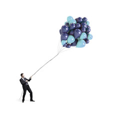 businessman holding  balloons