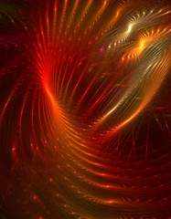 Abstract bright red and gold swirl waves