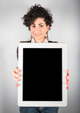 Young Businesswoman Holding Digital Tablet with Blank Screen