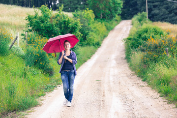 Teenage Girl with Red Umbrella