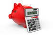 Calculating Savings Concept. Piggy Bank with calculator