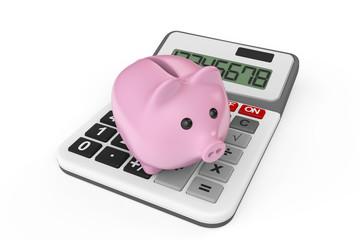 Calculating Savings Concept. Piggy Bank with calculator