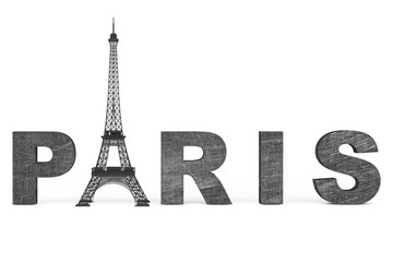 France Tourism Concept. Paris Sign with Eiffel Tower