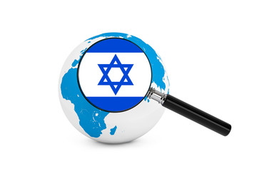 Magnified flag of Israel with Earth Globe