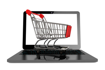 Modern laptop with Shopping Cart