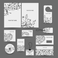 Corporate business style design: folder, labels, cards,