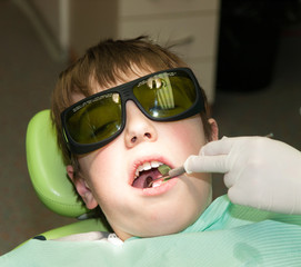 Boy during treatment in dental office