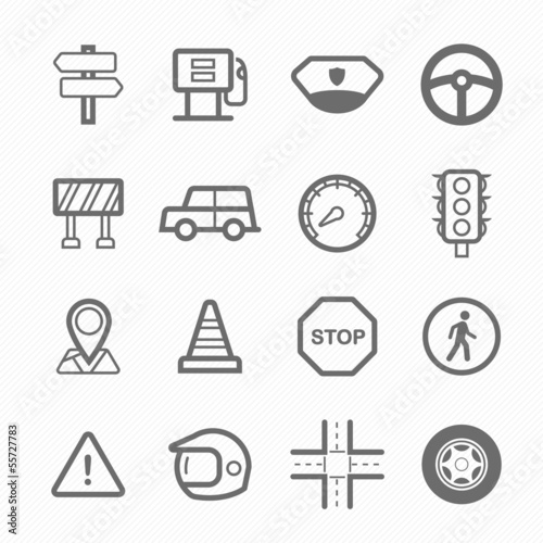 Traffic symbol line icon set