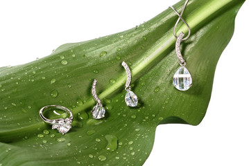 Costume jewelry on fresh green leaf with water drops isolated on