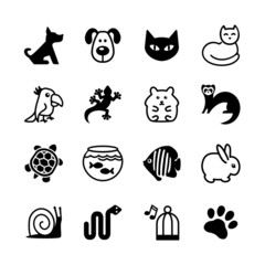 Set of 16 web icons. Pet shop, types of pets.