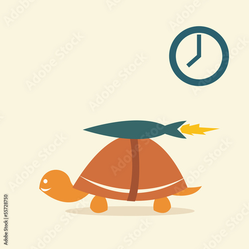 Vector image of an turtle rocket
