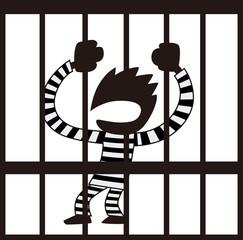 牢屋に入れられた男性