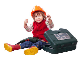 Baby builder in hardhat with tools