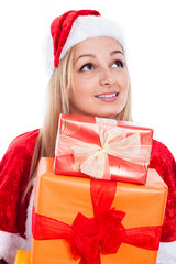 Beautiful Christmas woman with presents