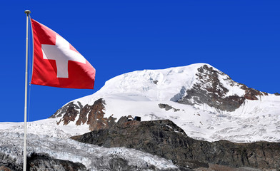 Mount Alphubel with Swiss flag - Wallis, Swiss alps