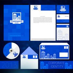 Синий фирменный стиль шаблон с  элементами
