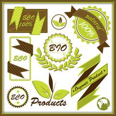 Набор органических значков и этикеток