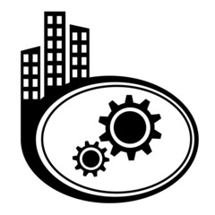 Gear icon. Black city icon