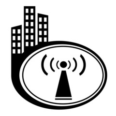 Wifi symbol city icon on white background