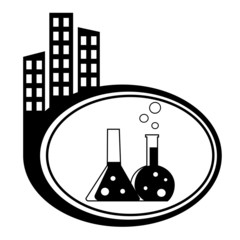 Flask with chemical reagent - city icon isolated