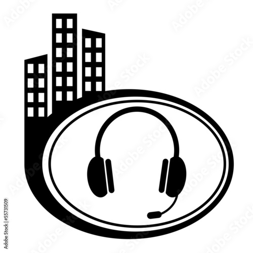 Vector headset web icon design element.