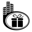 Gift box – vector icon. Black city icon