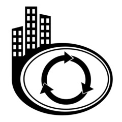 Arrows circle vector icon. Black city icon