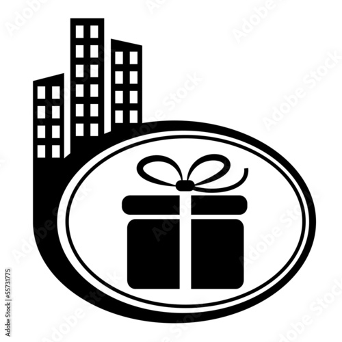 Gift box – vector icon. Black city icon