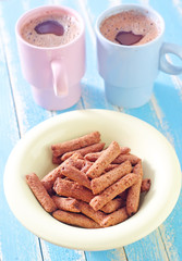 dry breakfast and cocoa drink