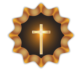 Religious cross label.Vector