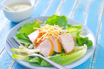 fresh salad with chicken and cheese