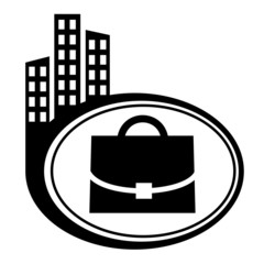 Case - vector icon isolated. Black icon city