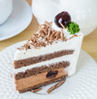 Chocolate cake with black cherry