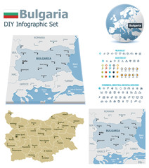 Bulgaria maps with markers