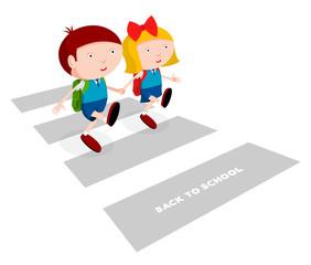 Two children go to school