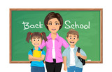 Vector Back to school, Teacher with cute schoolchildren