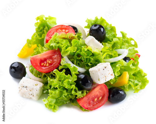 Fotobehang Salade Greek Salad with Feta Cheese, Tomatoes and Olives