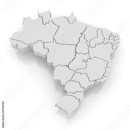 Three-dimensional map of Brazil.