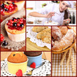 Collage of confectionery theme consisting of delicious pastries