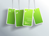 Four hanging green eco cards. You can place your own text on eac poster