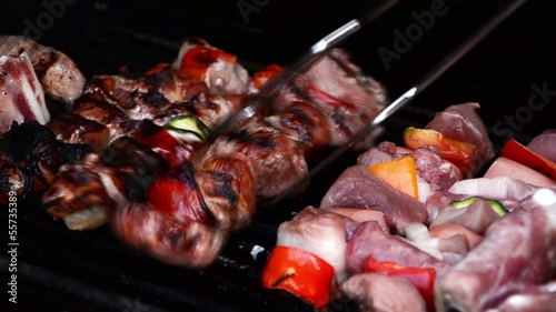 Meat Skewers on barbecue