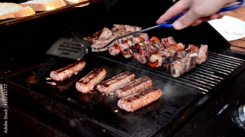 skewers and sausages