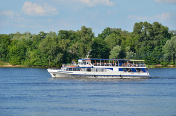 Tourist boat on the Dnieper river, Kiev, Ukraine