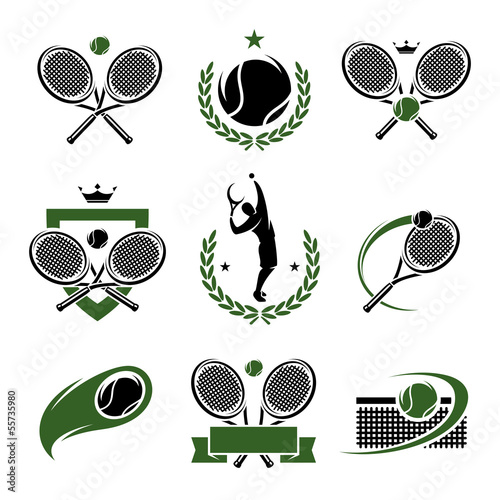 Tennis labels and icons set. Vector