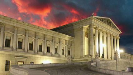 Vienna Parliament at sunset - time lapse