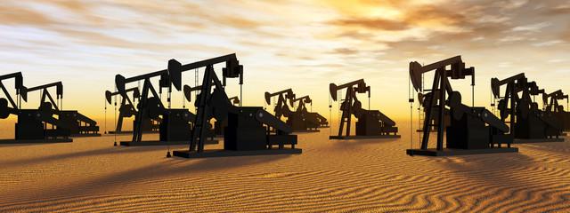 Ölpumpen vor einem Sonnenuntergang